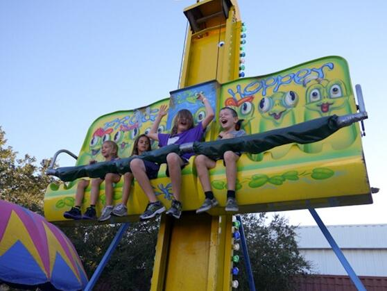 Going On The Frog Hopper Ride At The Fair